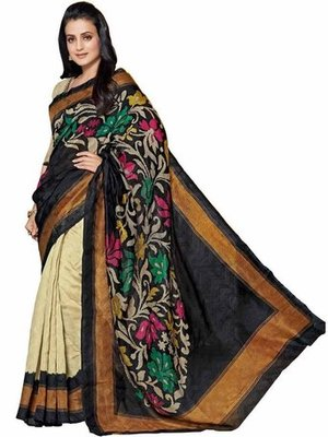 Black and cream printed bhagalpuri silk saree with blouse