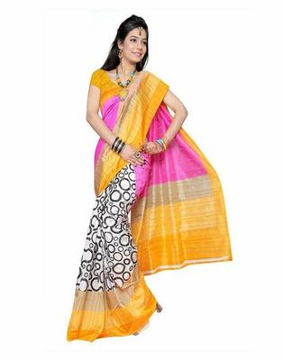Pink an orange printed bhagalpuri silk saree with blouse