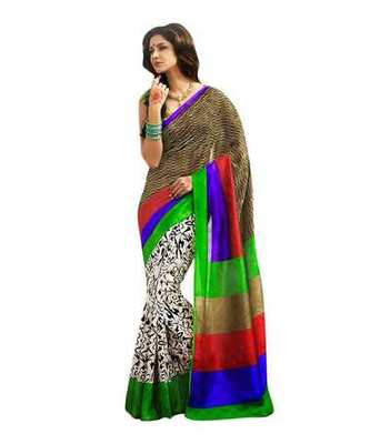 Brown and cream printed bhagalpuri silk saree with blouse