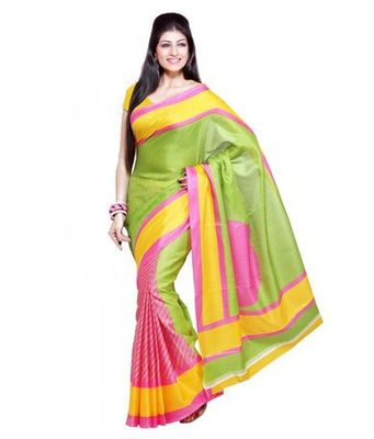 Green and pink printed bhagalpuri silk saree with blouse
