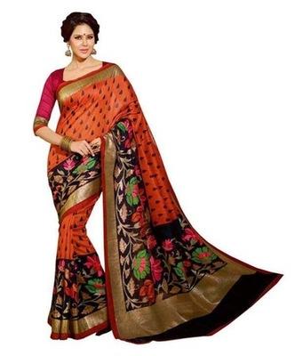 Red printed bhagalpuri silk saree with blouse