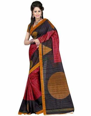 Black and red printed bhagalpuri silk saree with blouse