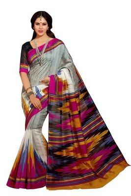 Gray printed bhagalpuri silk saree with blouse