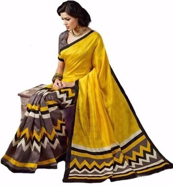 Yellow and brown printed bhagalpuri silk saree with blouse