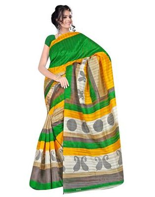 Green printed bhagalpuri silk saree with blouse