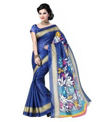 Blue printed bhagalpuri silk saree with blouse