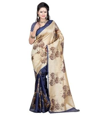 Blue and cream printed bhagalpuri silk saree with blouse