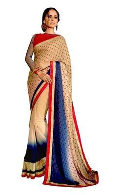 Beige plain georgette saree with blouse
