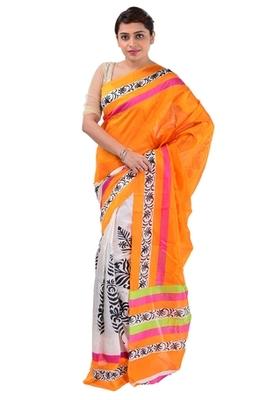 Orange printed art_silk saree with blouse