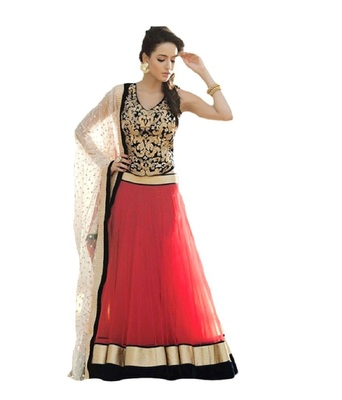 Black and Red embroidered Georgette unstitched lehenga-choli
