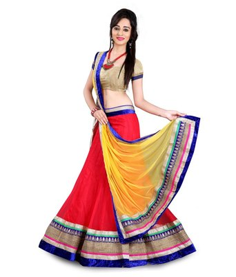 Red and Yellow embroidered Georgette unstitched lehenga-choli