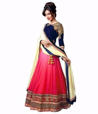 Blue and Pink embroidered Georgette unstitched lehenga-choli