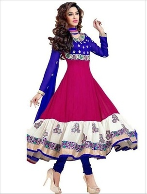 navy blue goerget embroidered unstitched salwar with dupatta
