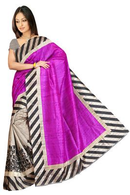 violet printed art silk saree with blouse