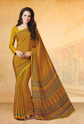 Mustared printed crepe saree with blouse