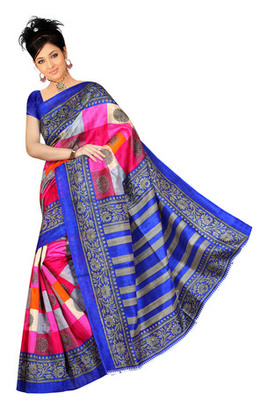red blue printed art silk saree with blouse