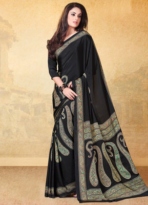 Black printed crepe saree with blouse