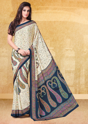 Cream and Blue printed crepe saree with blouse