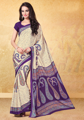 Cream printed crepe saree with blouse