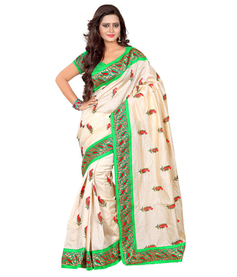 Green embroidered cotton silk saree with blouse
