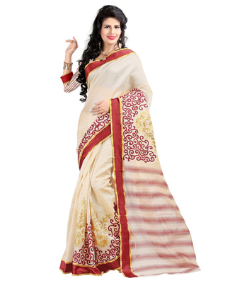 Brown embroidered cotton silk saree with blouse
