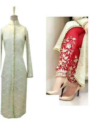 Off White silk embroidered semi stitched salwar with dupatta
