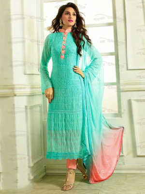 Blue Chiffon embroidered semi stitched salwar with dupatta