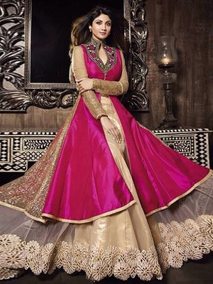 Pink Silk embroidered semi stitched salwar with dupatta