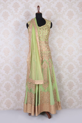 Pistachio green and gold georgette lovely anarkali with leaf neck