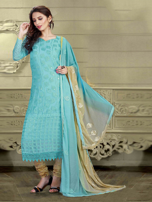Sky Blue Chiffon embroidered semi stitched salwar with dupatta
