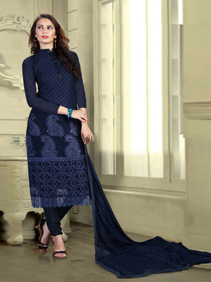Dark Blue Chiffon embroidered semi stitched salwar with dupatta