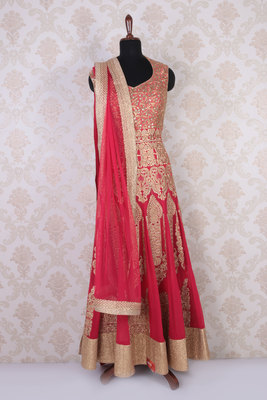 Red and gold georgette embroidered fine anarkali with leaf neck