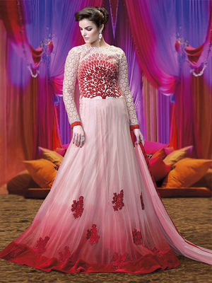 Light Pink Net embroidered semi stitched salwar with dupatta