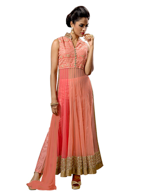 Orange Net embroidered semi stitched salwar with dupatta