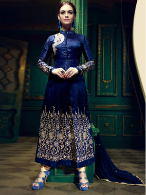 Blue silk embroidered semi stitched salwar with dupatta