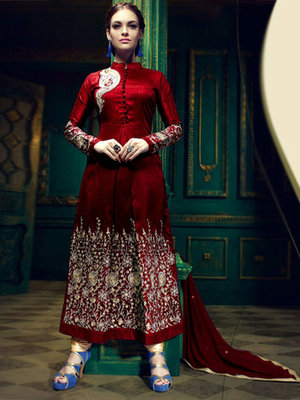 Red silk embroidered semi stitched salwar with dupatta