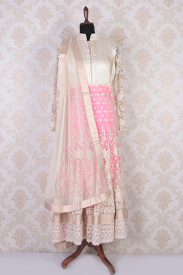 Cream and pink raw silk and net gorgeous embroidered anarkali