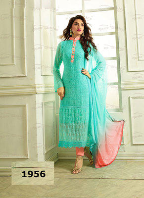 Blue, Peach Embroidered Pure Chiffon unstitched salwar with dupatta