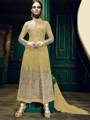 Beige silk embroidered semi stitched salwar with dupatta