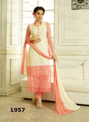 Peach, White Embroidered Pure Chiffon unstitched salwar with dupatta