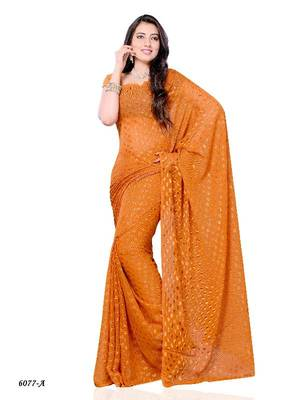 Dainty Casual Wear Saree with fancy fabric from DIVA FASHION- Surat