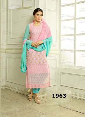 Pink Embroidered Pure Chiffon unstitched salwar with dupatta