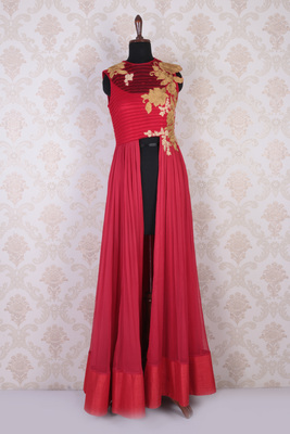Red and white georgette amazing embroidered sleeveless kameez