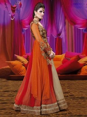 Multi Georgette embroidered semi stitched salwar with dupatta