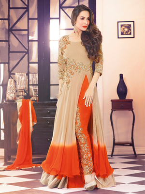 Biege Georgette embroidered semi stitched salwar with dupatta