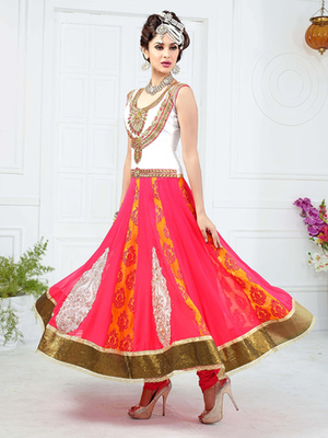 Multi Georgette embroidered semi stitched salwar with dupatta