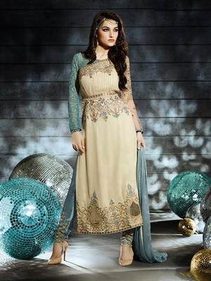 Cream Georgette embroidered semi stitched salwar with dupatta