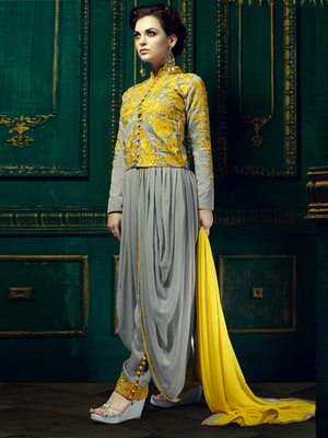 Grey Georgette embroidered semi stitched salwar with dupatta
