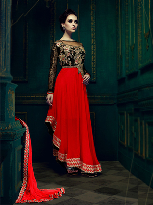 Red Georgette embroidered semi stitched salwar with dupatta