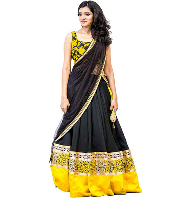 Black and Yellow Embroidered Designer Satin Lehenga With Blouse